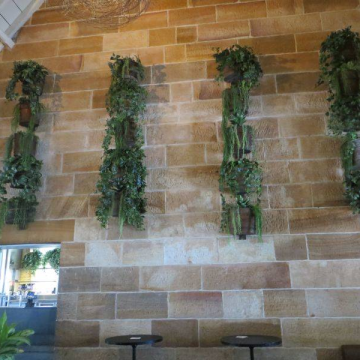 Hanging planters at Greenwood Hotel